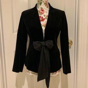 Ann Taylor black velvet jacket with silky tie 4P